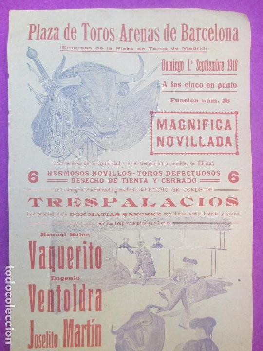 CARTEL TOROS, PLAZA ARENAS DE BARCELONA, 1918, VAQUERITO, VENTOLDRA Y JOSELITO MARTIN, CT257 (Coleccionismo - Carteles Gran Formato - Carteles Toros)