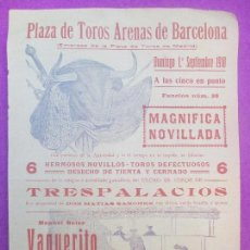 Carteles Toros: CARTEL TOROS, PLAZA ARENAS DE BARCELONA, 1918, VAQUERITO, VENTOLDRA Y JOSELITO MARTIN, CT257. Lote 116990639