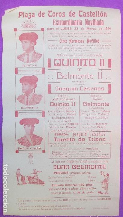 CARTEL TOROS, PLAZA CASTELLON, 1914, QUINITO II, BELMONTE II, CT268 (Coleccionismo - Carteles Gran Formato - Carteles Toros)