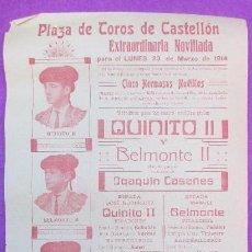 Carteles Toros: CARTEL TOROS, PLAZA CASTELLON, 1914, QUINITO II, BELMONTE II, CT268. Lote 117044027