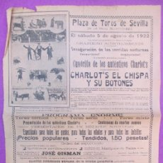 Carteles Toros: CARTEL TOROS, PLAZA SEVILLA, 1922, JOSE GISMAN, COMICO CHARLOTS, CT280. Lote 117052735