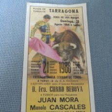 Carteles Toros: TOROS EN TARRAGONA 1988 23X11CM. Lote 117311655