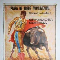 Carteles Toros: CARTEL PUBLICITARIO DE CORRIDA DE TOROS - EL CORDOBÉS, PALOMO LINARES, RAMÓN MATEO -MONUMENTAL, 1974. Lote 117741043