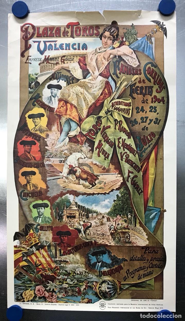 PLAZA DE TOROS DE VALENCIA FAMOSA CORRIDA DE FERIA 1904- CARTEL CONMEMORATIVO REPRODUCIDO EN 1972 (Coleccionismo - Carteles Gran Formato - Carteles Toros)