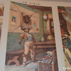 Carteles Toros: CROMOS - LA LIDIA - CARPETA HORNA - CONTIENE 8 LAMINAS - DANIEL PEREA, OTROS.... Lote 118826055