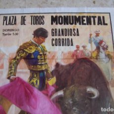 Carteles Toros: CARTEL PLAZA DE TOROS MONUMENTAL. PAQUIRRI, EL CARPINTERO, PACO ALCALDE.. Lote 118993343