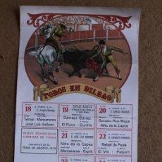 Carteles Toros: CARTEL DE TOROS DE BILBAO. FERIA DE AGOSTO 1979. ÁNGEL TERUEL, MANZANARES, GALLOSO, PAQUIRRI. Lote 119455299