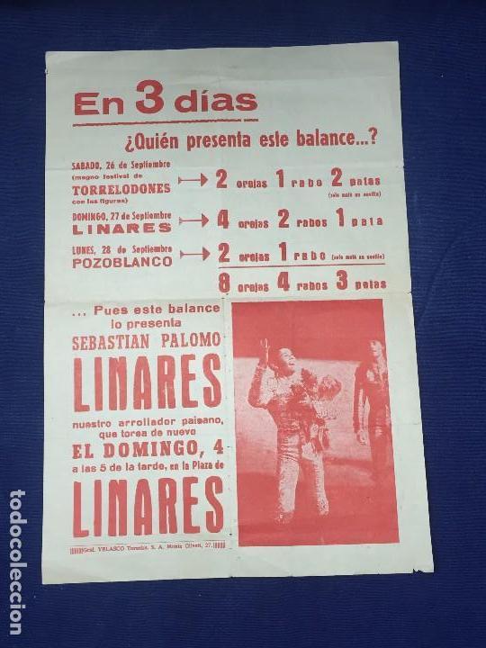 CARTEL TAURINO SEBASTIÁN PALOMO LINARES CORRIDA DE TOROS PLAZA DE LINARES JAÉN AÑOS 60 (Coleccionismo - Carteles Gran Formato - Carteles Toros)