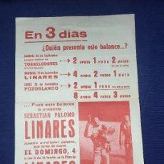 Carteles Toros: CARTEL TAURINO SEBASTIÁN PALOMO LINARES CORRIDA DE TOROS PLAZA DE LINARES JAÉN AÑOS 60. Lote 214895146