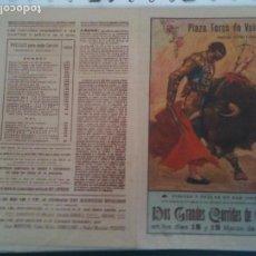 Carteles Toros: VALENCIA PLAZA DE TOROS- 1952. Lote 121342187