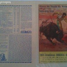 Carteles Toros: VALENCIA PLAZA DE TOROS- 1957. Lote 121342651