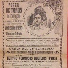 Carteles Toros: CARTEL PLAZA DE TOROS DE CARTAGENA 1915. GANADERIA CLAIRAC. MANUEL NAVARRO. CARLOS OLMEDITO. Lote 198510816
