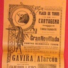 Carteles Toros: CARTEL PLAZA DE TOROS DE CARTAGENA, GANADERIA QUIJANO, 1915. GAVIRA, ALARCON, GUERRILLERO. Lote 122083247