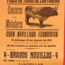 Carteles Toros: CARTEL PLAZA DE TOROS DE CARTAGENA 29 AGOS. 1915 MONTES, MORENITO, MONTAÑITA, BABUCHERO. Lote 122088371