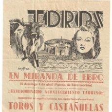 Carteles Toros: MIRANDA DE EBRO (BURGOS) 1961 CARTEL CORRIDA DE TOROS.TORERO CARLOS MARTINEZ ILLESCAS DE CARTAGENA. Lote 122180367