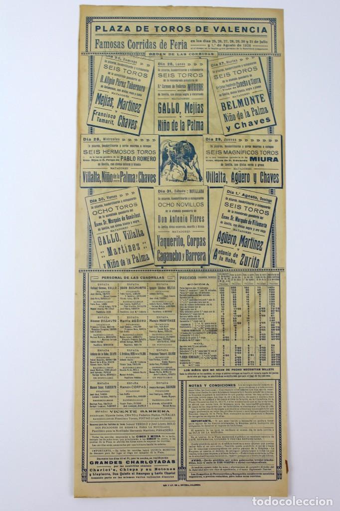 Carteles Toros: CARTEL DE TOROS,VALENCIA,GALLO,BELMONTE,MEJIAS,VILLALTA,AGUERO. JULIO DEL 25 AL 31.AÑO 1926. - Foto 2 - 123097771