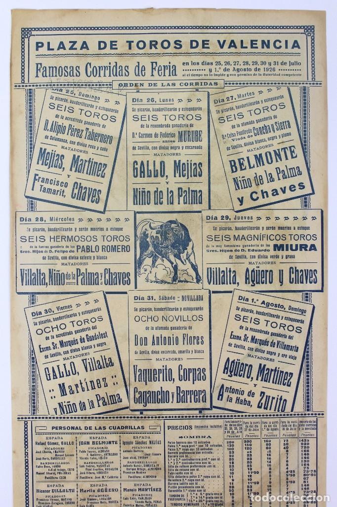 Carteles Toros: CARTEL DE TOROS,VALENCIA,GALLO,BELMONTE,MEJIAS,VILLALTA,AGUERO. JULIO DEL 25 AL 31.AÑO 1926. - Foto 3 - 123097771