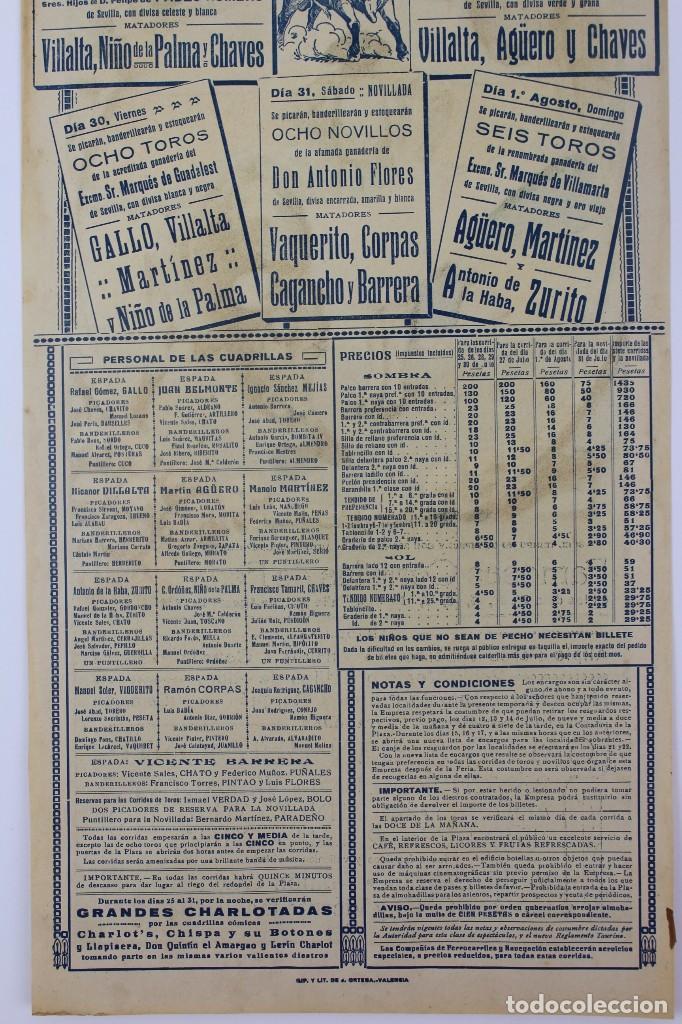 Carteles Toros: CARTEL DE TOROS,VALENCIA,GALLO,BELMONTE,MEJIAS,VILLALTA,AGUERO. JULIO DEL 25 AL 31.AÑO 1926. - Foto 4 - 123097771