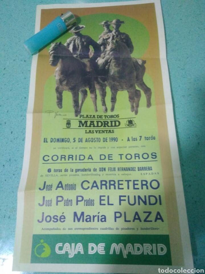 CARTEL DE TOROS DE MADRID CARRETERO.EL FUNDI.JOSE MARIA PLAZA 5 AGOSTO 1990 (Coleccionismo - Carteles Gran Formato - Carteles Toros)