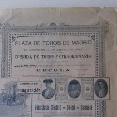 Carteles Toros: CARTEL TOROS. MADRID. CORRIDA EXTRAORDINARIA 4 ABRIL 1920.. Lote 124483779