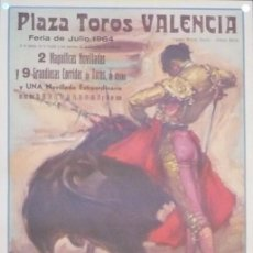 Carteles Toros: CARTEL PLAZA TOROS VALENCIA- AÑO 1964. Lote 124490295