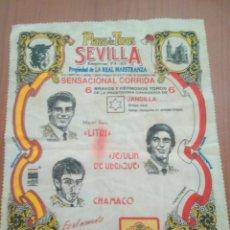 Carteles Toros: CARTEL TAURINO CARTEL EN TELA PLAZA TOROS SEVILLA.EL LITRI.JESULIN UBRIQUE.CHAMACO.ABRIL 1994. Lote 126635596
