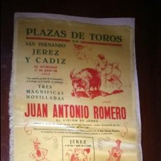 Carteles Toros: CARTEL SEDA TOROS EN JEREZ Y CÁDIZ. 1955 JUAN ANTONIO ROMERO . Lote 127483531