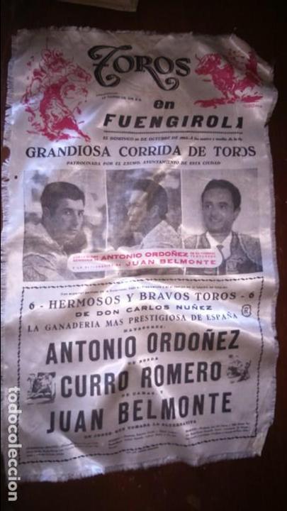 CARTEL SEDA TOROS EN FUENGIROLA 1961 CURRO ROMERO JUAN BELMONTE (Coleccionismo - Carteles Gran Formato - Carteles Toros)