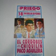 Carteles Toros: 1. CARTEL PLAZA DE TOROS DE PRIEGO DE CÓRDOBA 1992. Lote 127581883