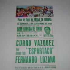 Carteles Toros: 1. CARTEL PLAZA DE TOROS DE PRIEGO DE CORDOBA 1989. Lote 127583327