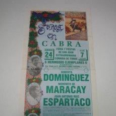 Carteles Toros: 1. CARTEL PLAZA DE TOROS DE CABRA 1989. Lote 127584347