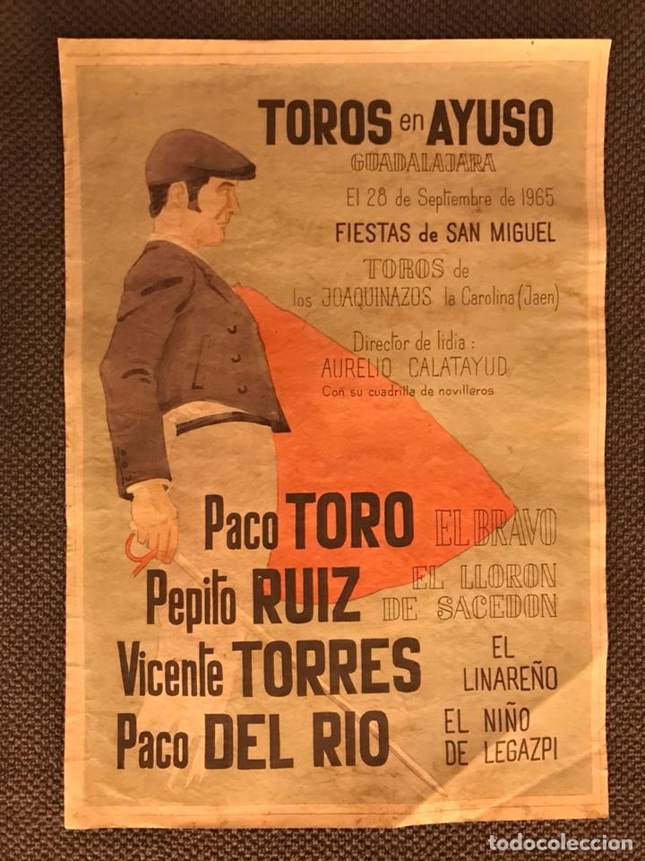 GUADALAJARA. TOROS EN AYUSO. FIESTAS DE SAN MIGUEL,28 DE SEPTIEMBRE DE 1965 (Coleccionismo - Carteles Gran Formato - Carteles Toros)
