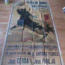 Carteles Toros: CARTEL TOROS, PLAZA VALENCIA, 1942, JOSE CERDA, JOSE PAREJO, PAQUITO PERIS, RUANO LLOPIS. Lote 128259095