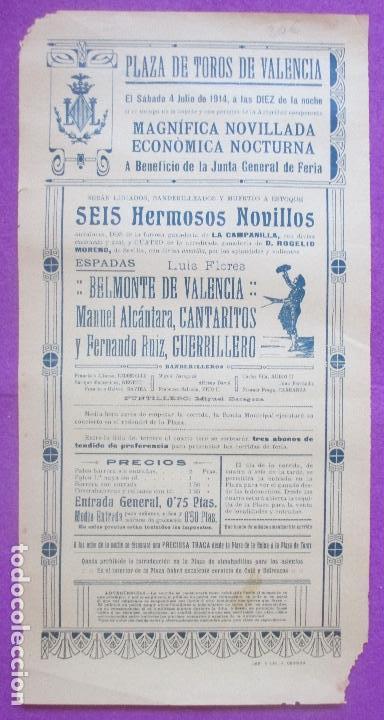 CARTEL TOROS, PLAZA VALENCIA, 1914, BELMONTE DE VALENCIA, CANTARITOS, GUERRILERO, CT306 (Coleccionismo - Carteles Gran Formato - Carteles Toros)