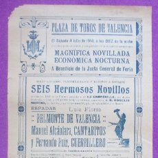 Carteles Toros: CARTEL TOROS, PLAZA VALENCIA, 1914, BELMONTE DE VALENCIA, CANTARITOS, GUERRILERO, CT306. Lote 128352143
