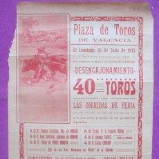 Carteles Toros: CARTEL TOROS, PLAZA VALENCIA, 1915, CT309. Lote 128352643