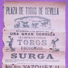Carteles Toros: CARTEL TOROS, PLAZA SEVILLA, 1911, VAZQUEZ II, CORCITO, CT311. Lote 128352959