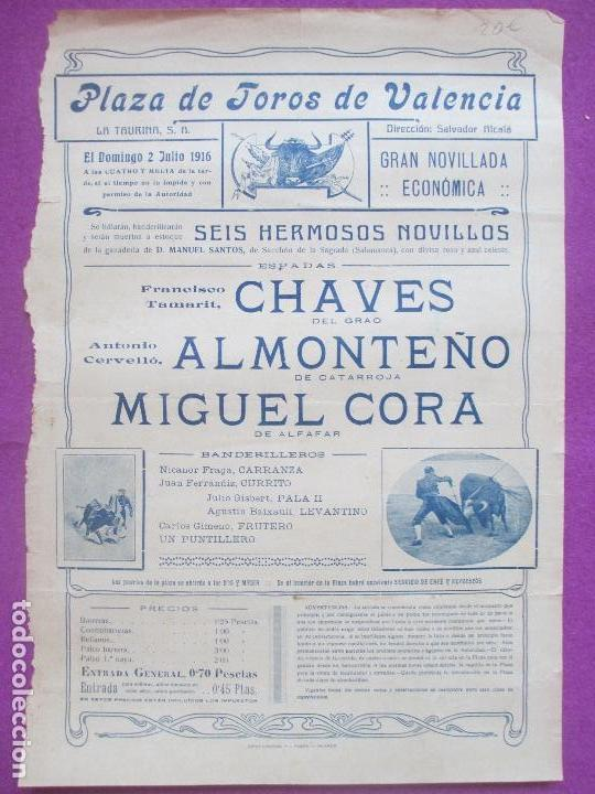 CARTEL TOROS, PLAZA VALENCIA, 1916, CHAVES, ALMONTEÑO, MIGUEL CORA, CT315 (Coleccionismo - Carteles Gran Formato - Carteles Toros)