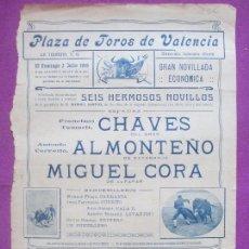 Carteles Toros: CARTEL TOROS, PLAZA VALENCIA, 1916, CHAVES, ALMONTEÑO, MIGUEL CORA, CT315. Lote 128354803