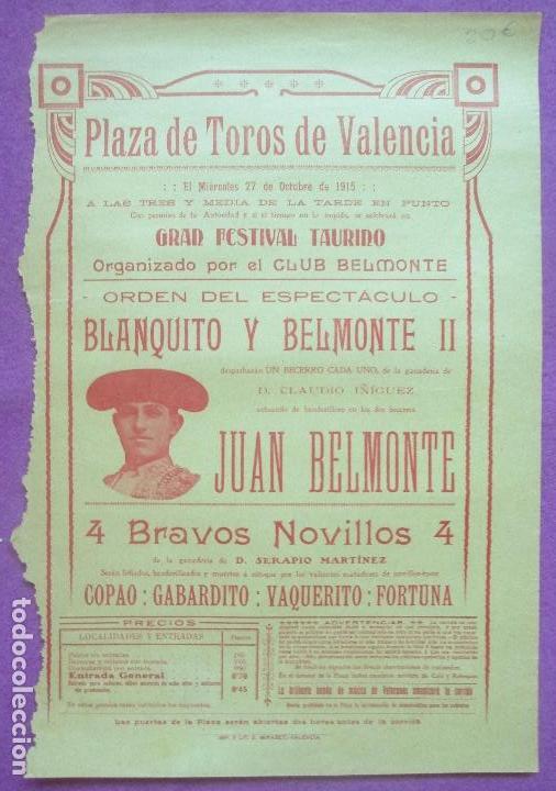 CARTEL TOROS, PLAZA VALENCIA, 1915, BLANQUITO, BELMONTE II, JUAN BELMONTE, CT317 (Coleccionismo - Carteles Gran Formato - Carteles Toros)