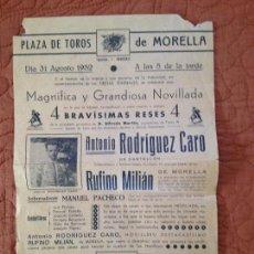 Carteles Toros: PLAZA DE TOROS DE MORELLA, ,MAYO DE 1952. Lote 128985703