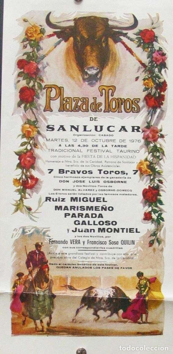 1976 CARTEL PLAZA TOROS DE SANLUCAR DE BDA 12 OCTUBRE 1976 MED 17X 34 CTM (Coleccionismo - Carteles Gran Formato - Carteles Toros)