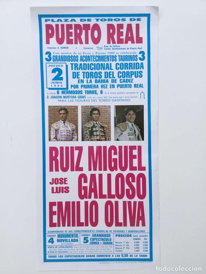 1988 CARTEL PLAZA TOROS DE PUERTO REAL 2 JUNIO 1988 MED 20X42 CTM (Coleccionismo - Carteles Gran Formato - Carteles Toros)