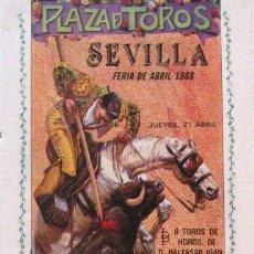 Carteles Toros: 1988 CARTEL PLAZA TOROS DE SEVILLA 21 ABRIL 1988 MED 21X45 CTM. Lote 127693204