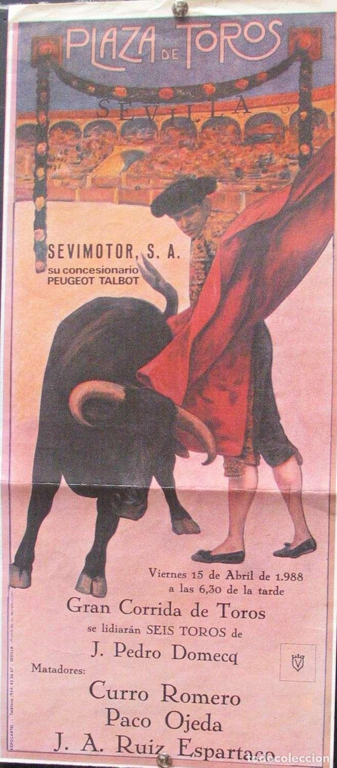 1998 CARTEL PLAZA TOROS DE SEVILLA 15 ABRIL 1998 MED 20X45 CTM (Coleccionismo - Carteles Gran Formato - Carteles Toros)