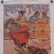 Carteles Toros: 1987 CARTEL PLAZA TOROS DE SEVILLA 4 OCTUBRE 1987 MED 20X45 CTM. Lote 127693359
