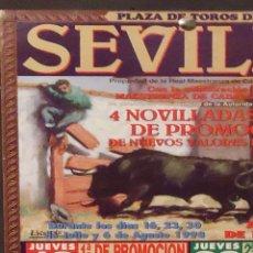 Carteles Toros: 1998 CARTEL PLAZA TOROS DE SEVILLA DEL 16 JULIO AL 6 AGOSTO 1998 NOVILLADAS MED 20X45 CTM. Lote 127693439
