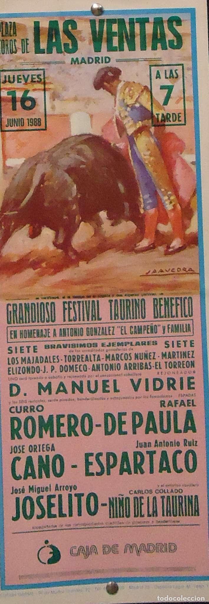 1988 CARTEL PLAZA TOROS DE MADRID 16 JUNIO 1988 MED 18X46 (Coleccionismo - Carteles Gran Formato - Carteles Toros)