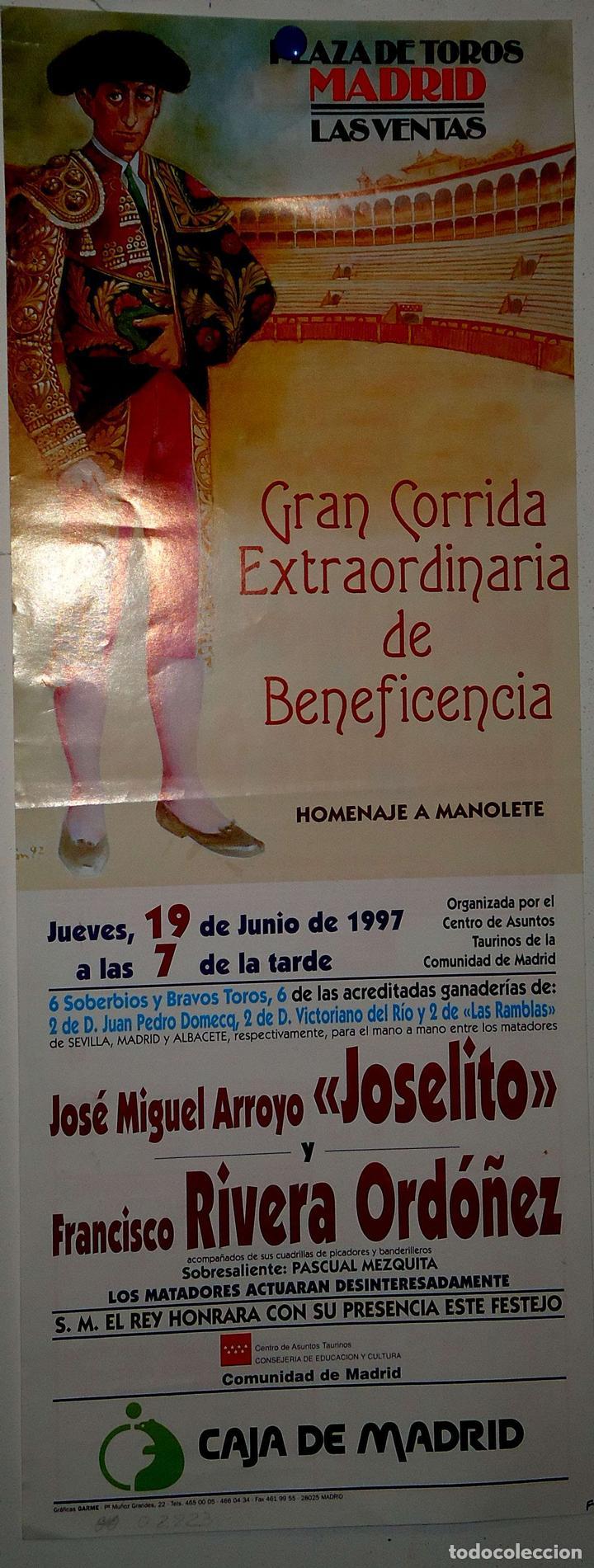 1997 CARTEL PLAZA TOROS DE MADRID 19 JUNIO 1997 MED 18X 42 CTM (Coleccionismo - Carteles Gran Formato - Carteles Toros)
