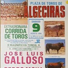 Carteles Toros: 1986 CARTEL PLAZA TOROS DE ALGECIRAS 9-08-1986 MED 22X45 CTM. Lote 127693868